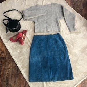 Faux Blue Suede Terry Lewis Petite Skirt
